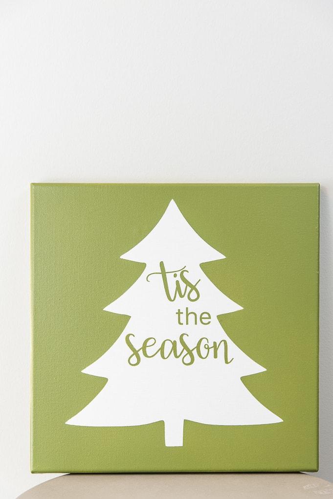 Tis the Season Christmas Tree Sign green canvas