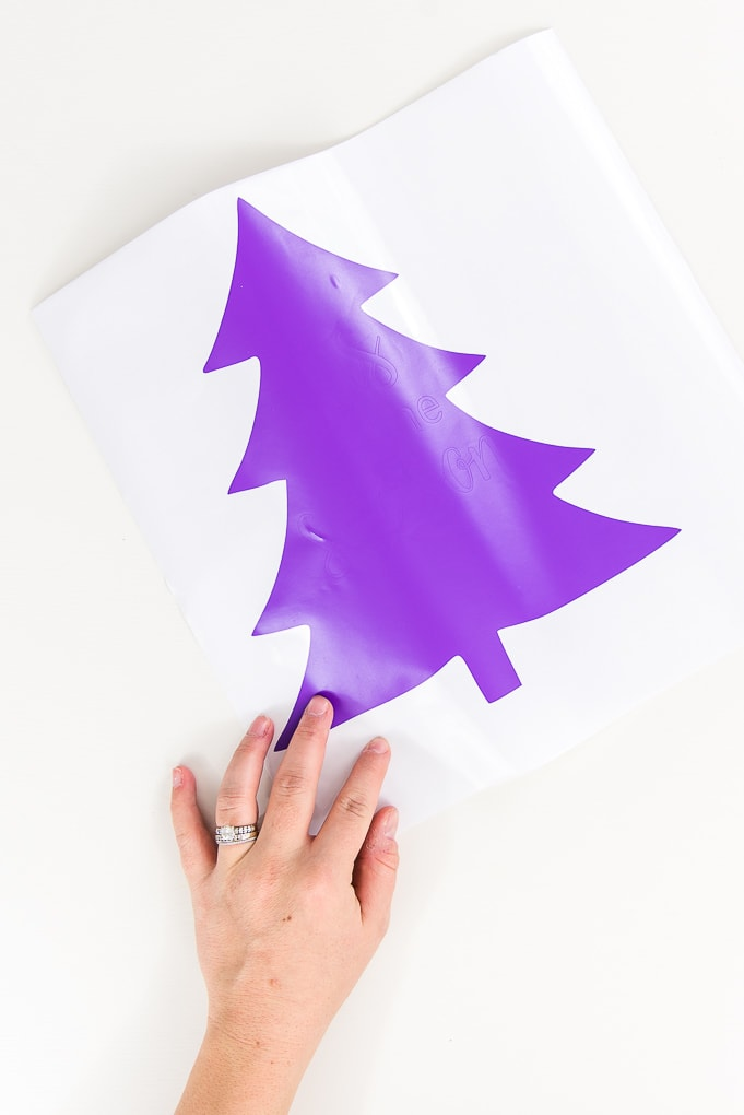 tree cutout of purple vinyl