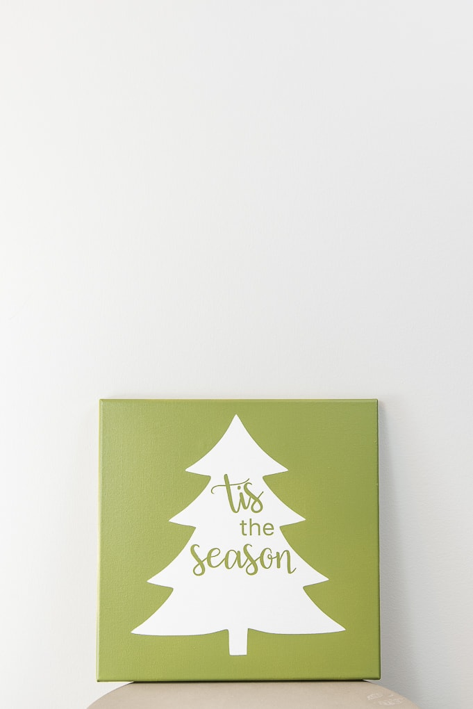 Tis the Season Christmas Tree Sign green canvas diy project