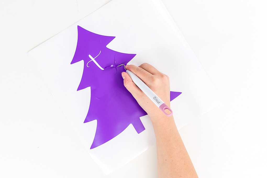 weeding Christmas tree purple vinyl with weeder tool