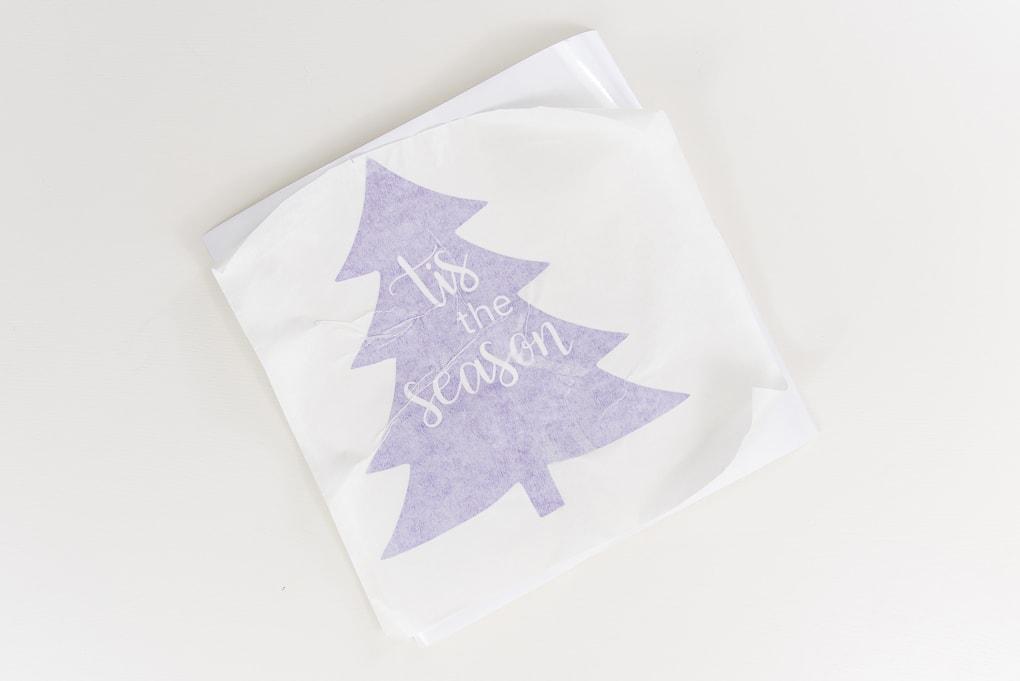 purple vinyl Christmas tree design with transfer tape