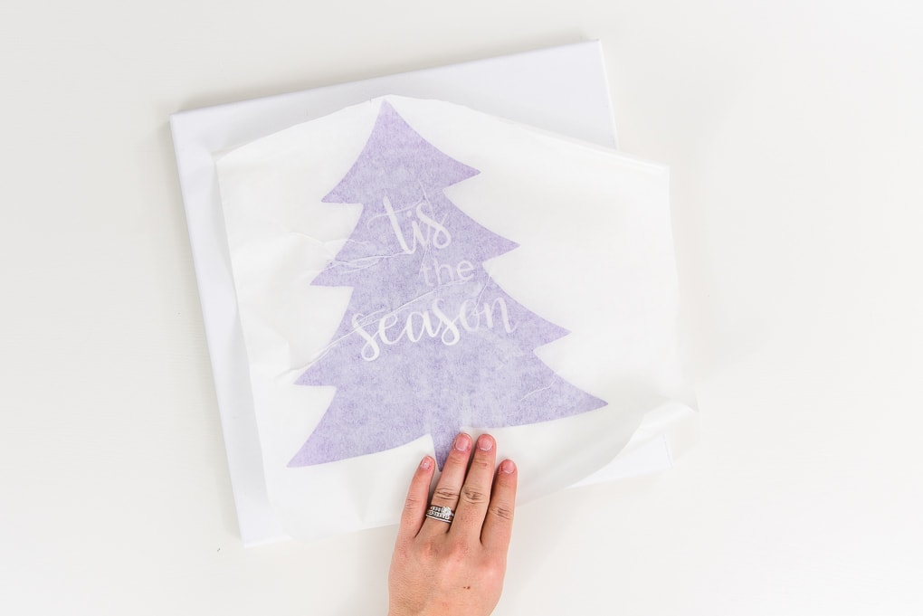 purple vinyl Christmas tree design with transfer tape on canvas