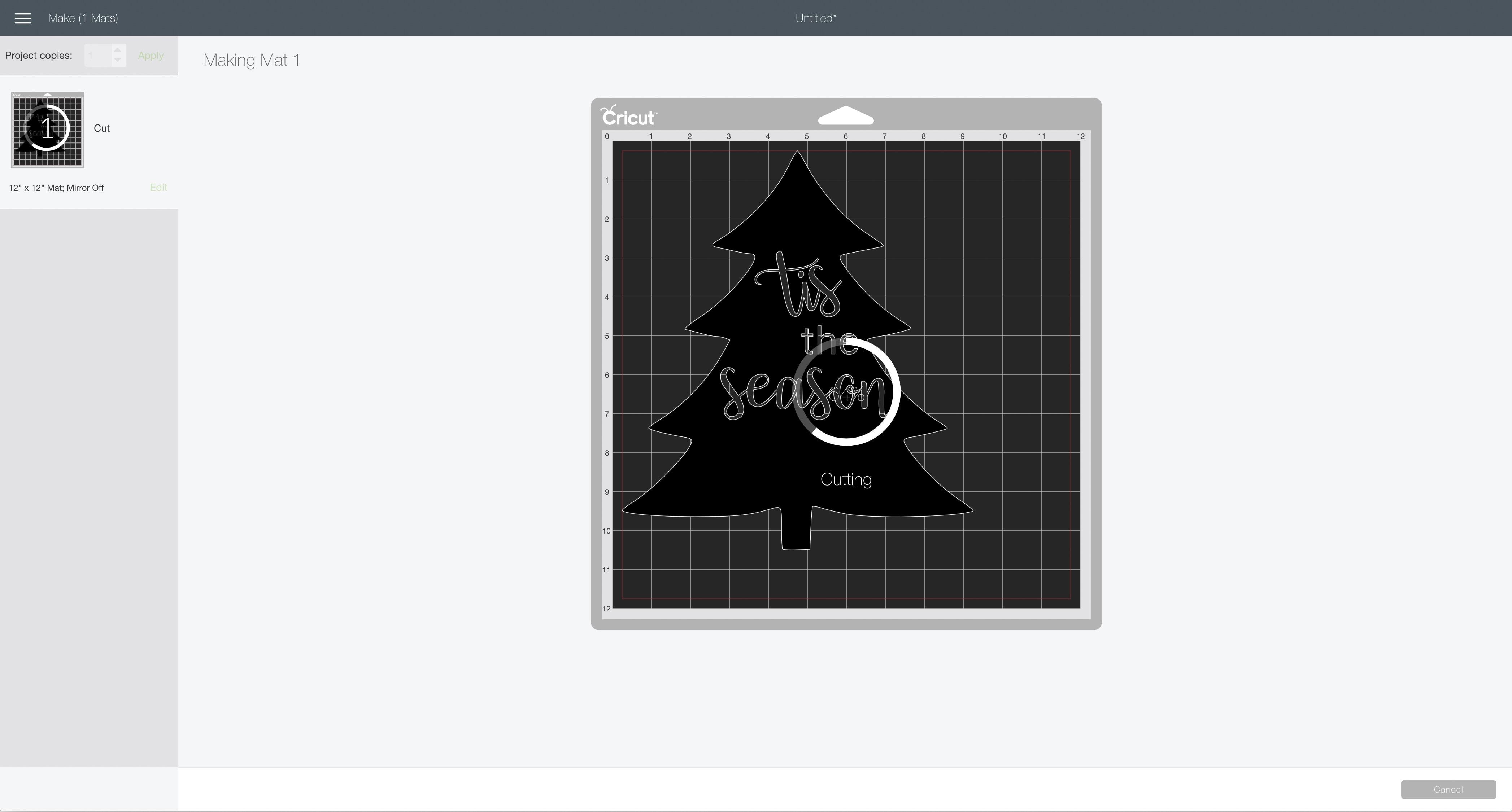 cutting screen Cricut Design Space tis to season tree sign