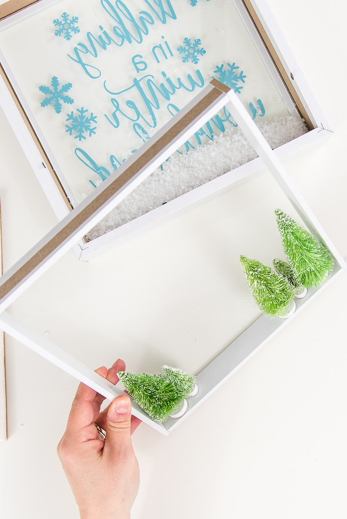 insert of shadow box with mini trees
