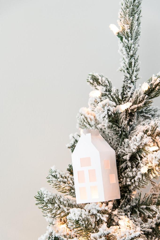 winter 3D light up house ornament on flocked Christmas tree