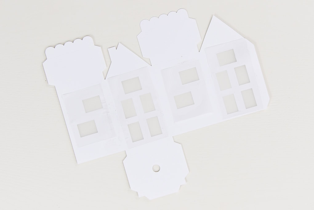 paper house with vellum windows cutout