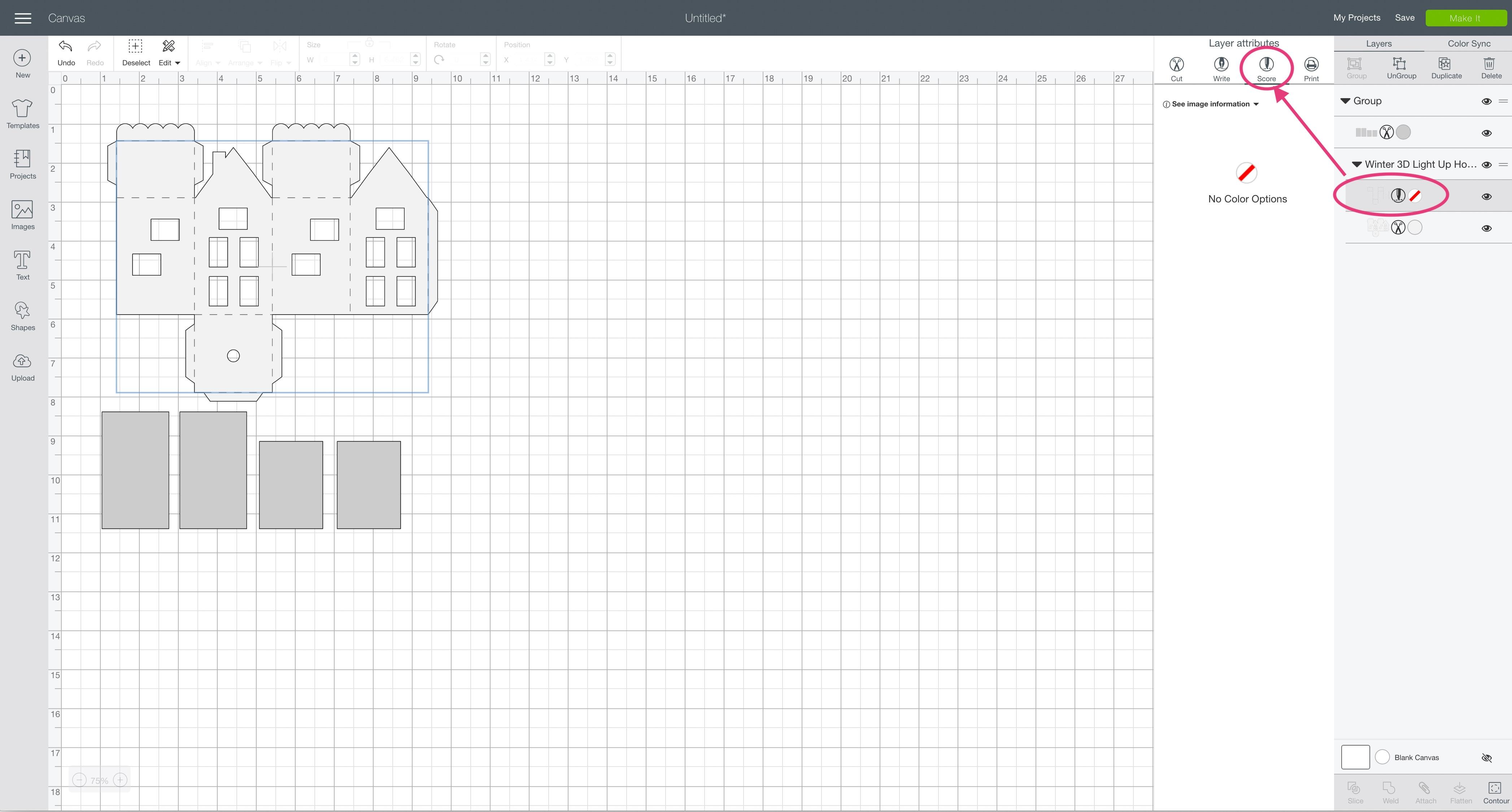 svg design file Cricut Design Space winter 3D light up house ornament