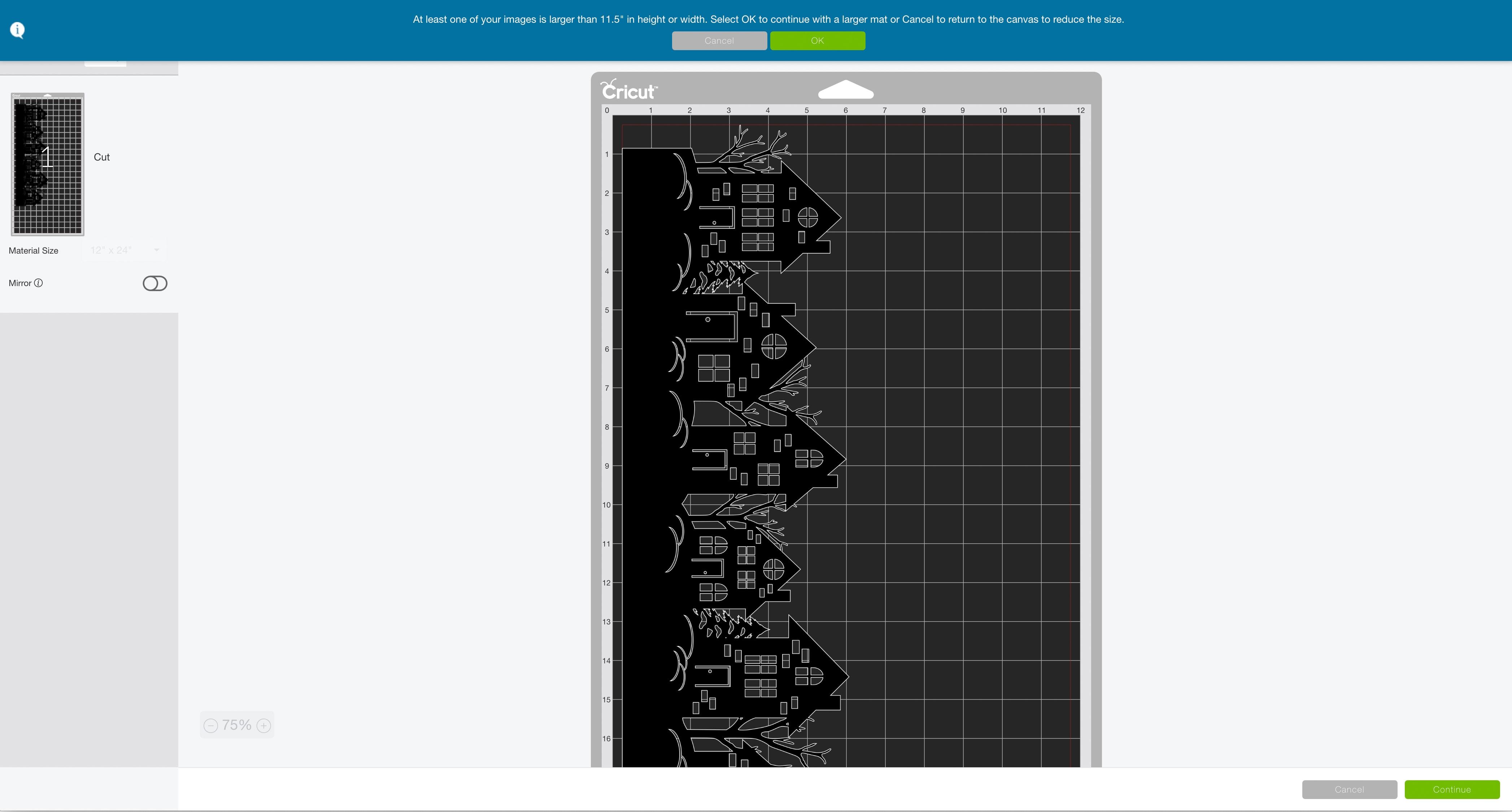mat preview large Cricut Design Space winter night hurricane vase
