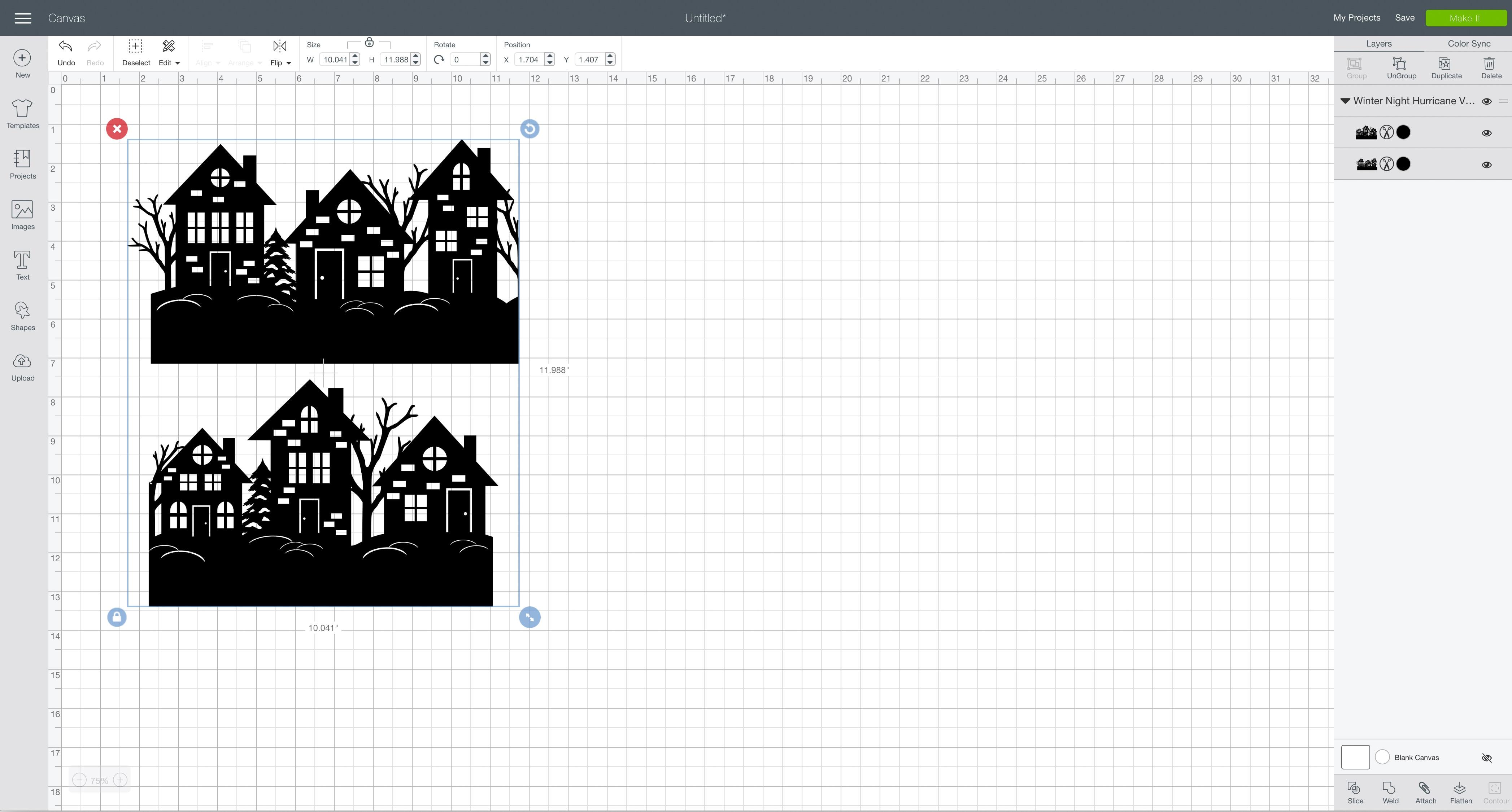 svg design file Cricut Design Space winter night hurricane vase split