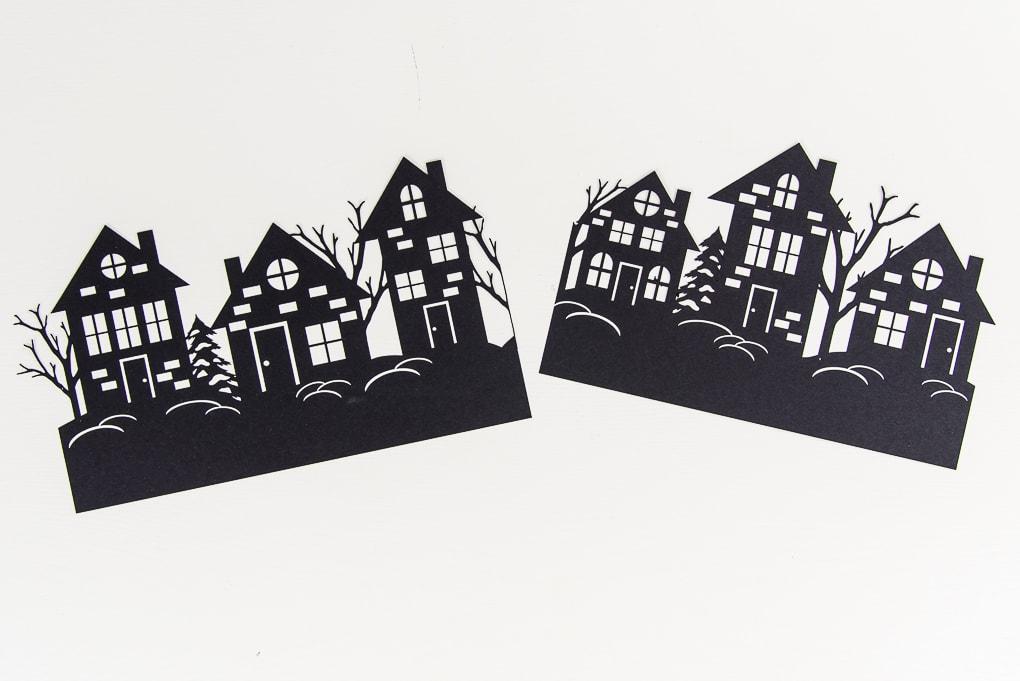 winter night hurricane vase paper cutouts