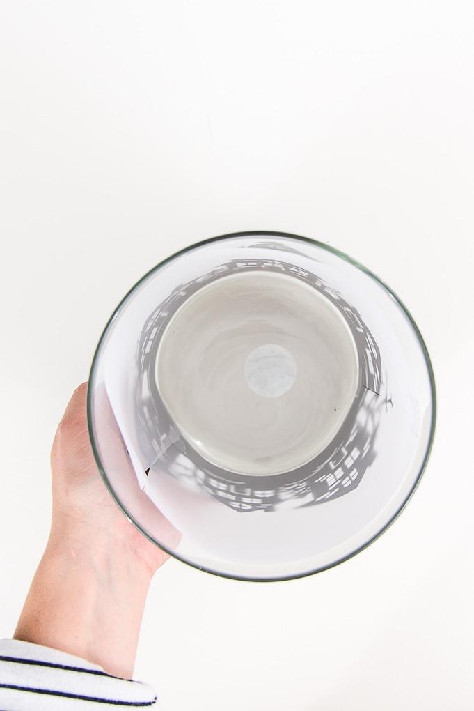 vellum paper inside hurricane vase