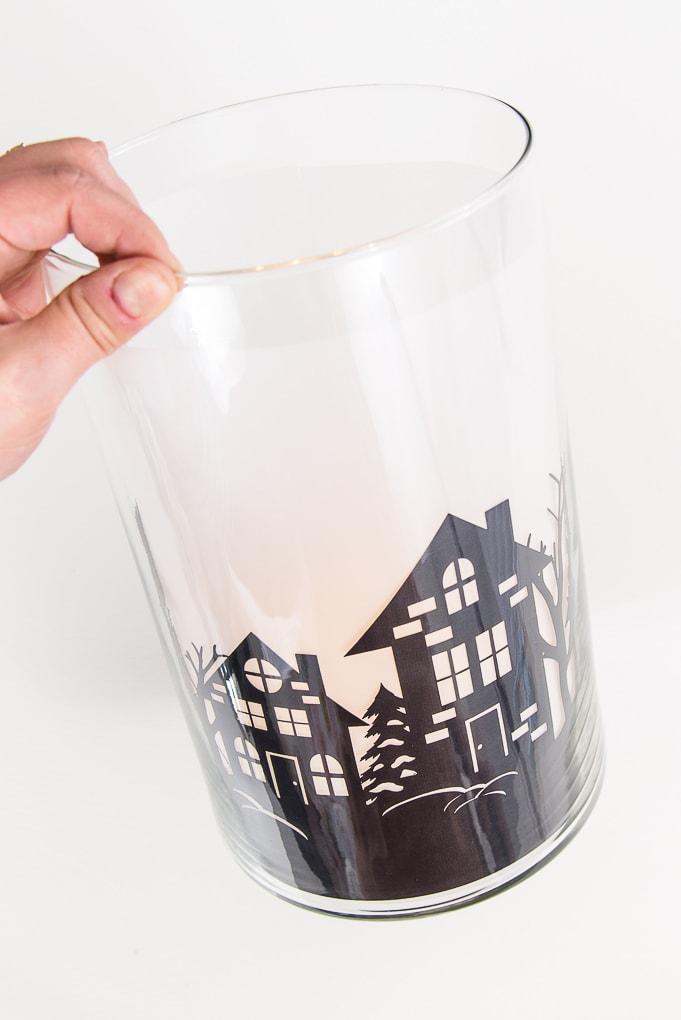 close up of winter night hurricane vase luminary made with cricut