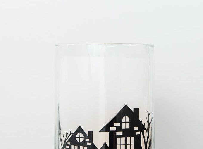 winter night hurricane vase luminary made with cricut lit up