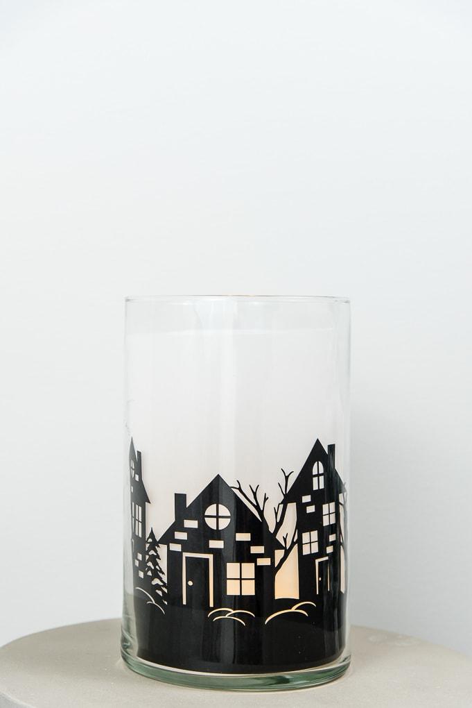 winter night hurricane vase luminary made with cricut