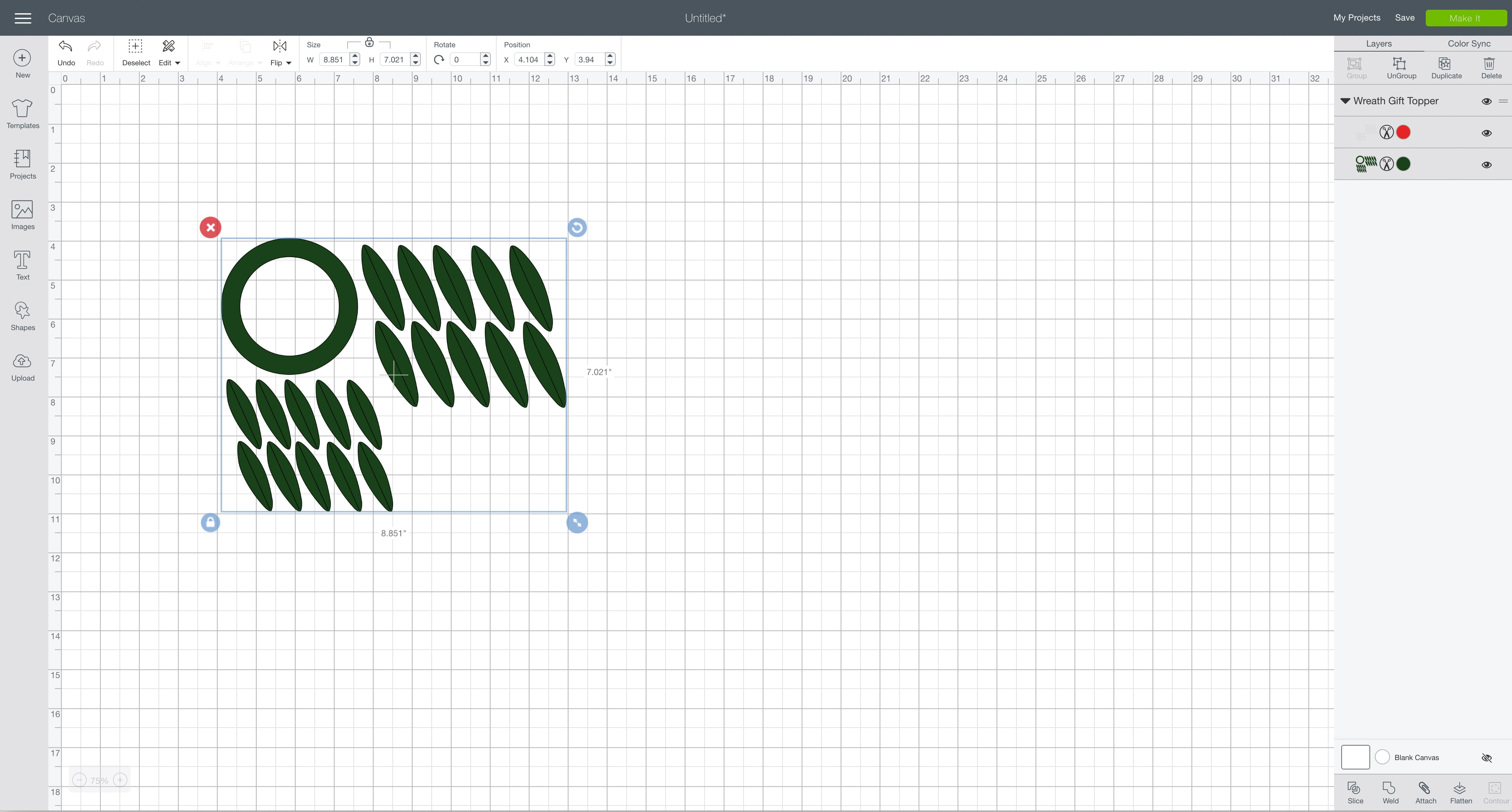 svg design file Cricut Design Space wreath gift topper