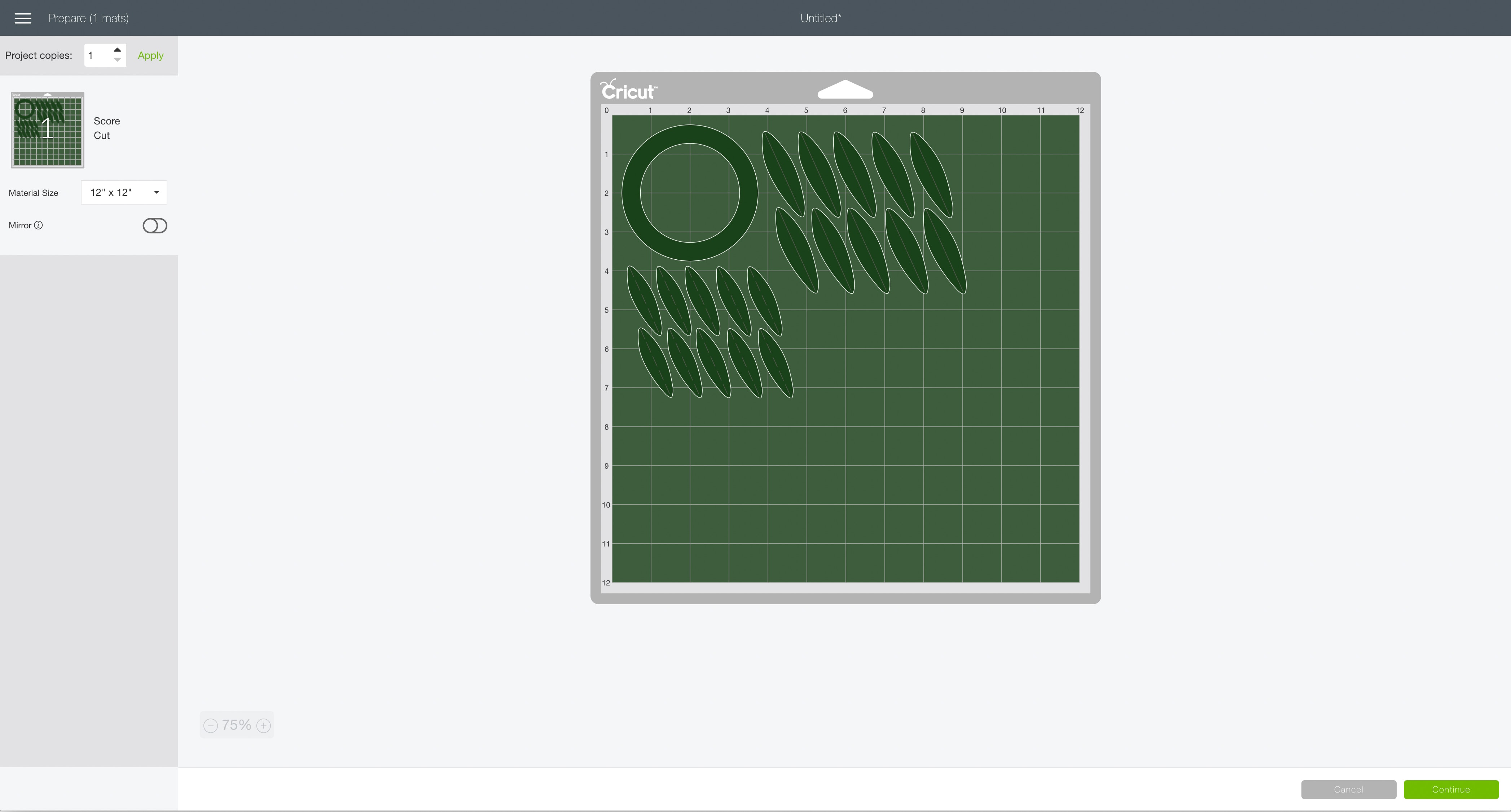 mat preview screen Cricut Design Space wreath gift topper