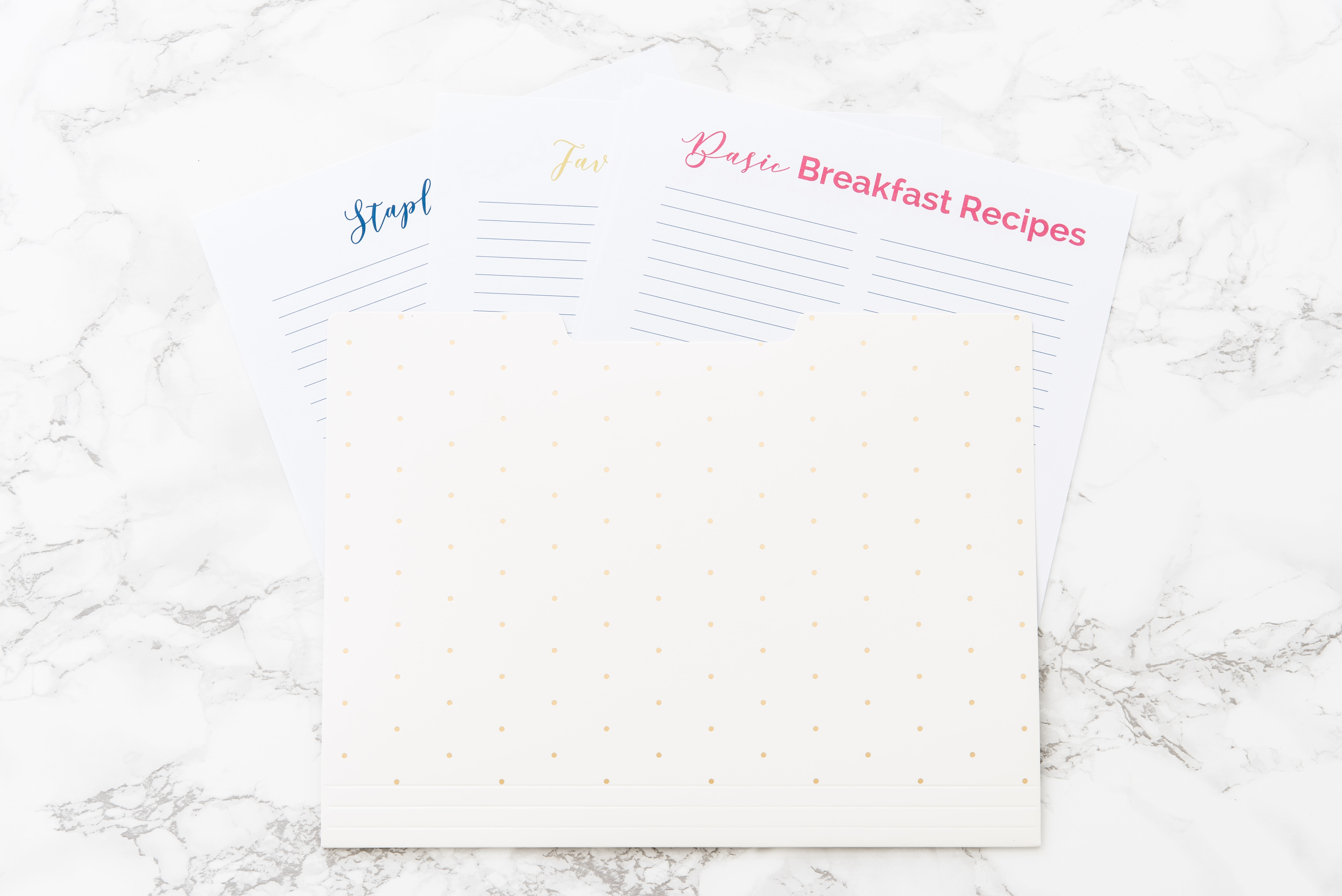 meal planning printable reference guides in white file folder