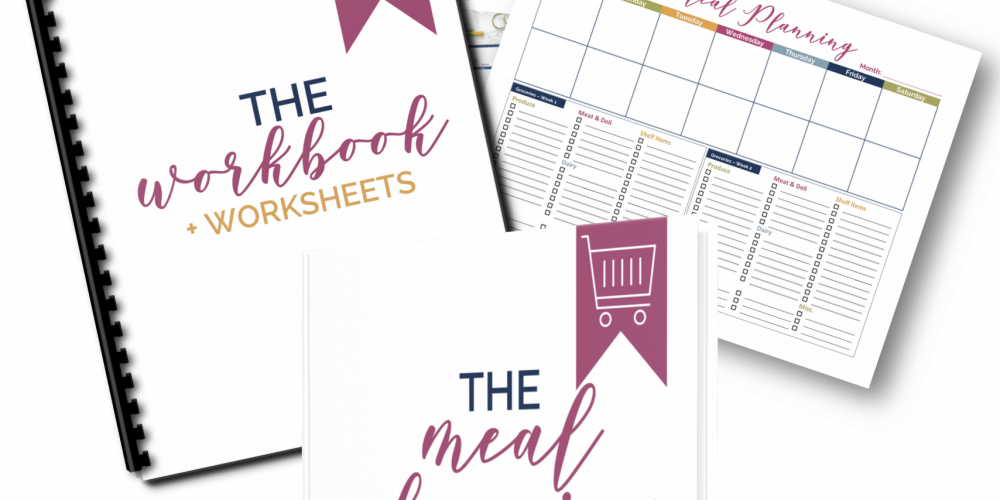 the meal planning strategy guide product mockup with workbook
