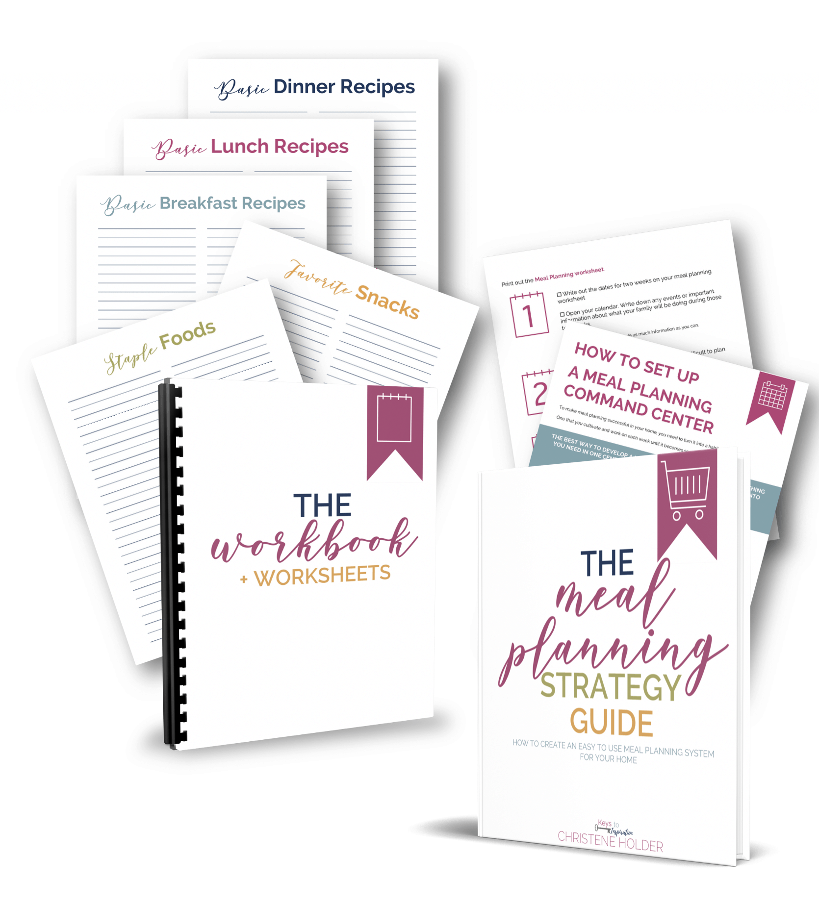 the meal planning strategy guide mockup with printable pages