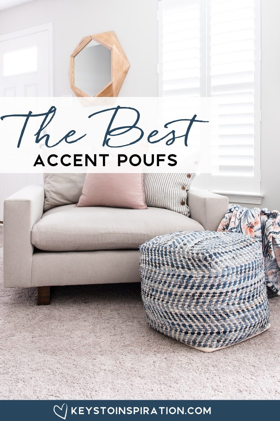 blue accent pouf and a tan west elm harmony chair in modern home office