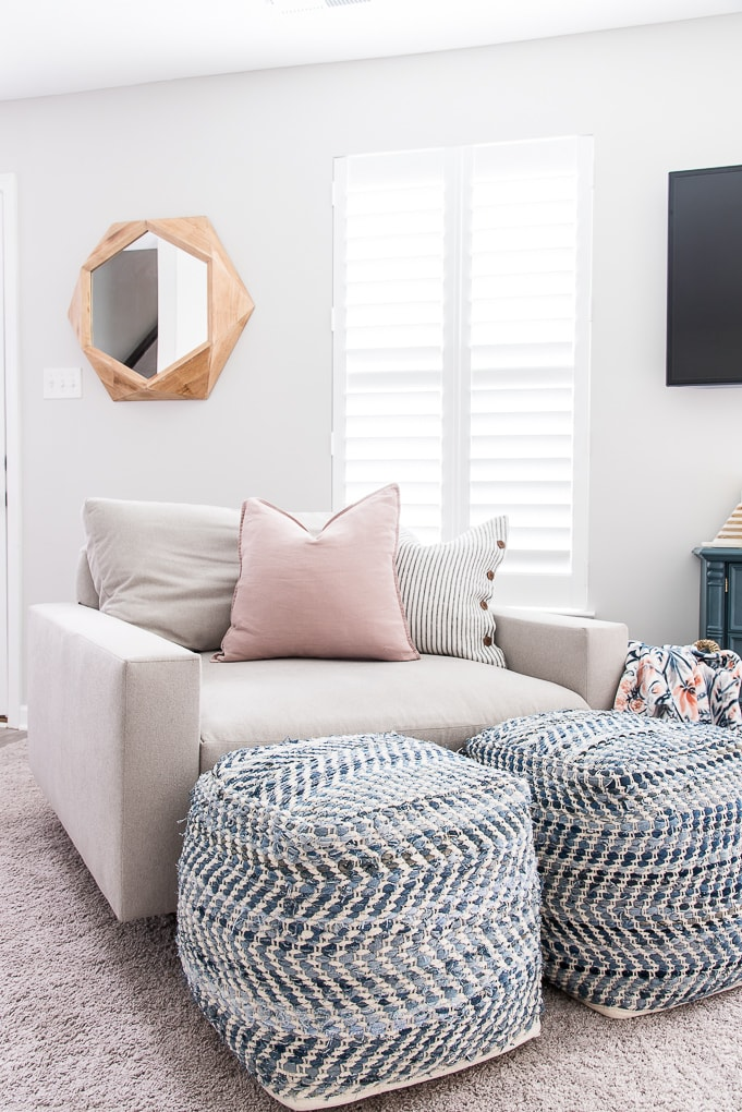 blue pattern poufs and harmony accent chair color ash from west elm