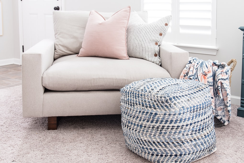 blue pouf and the harmony accent chair from west elm modern chair