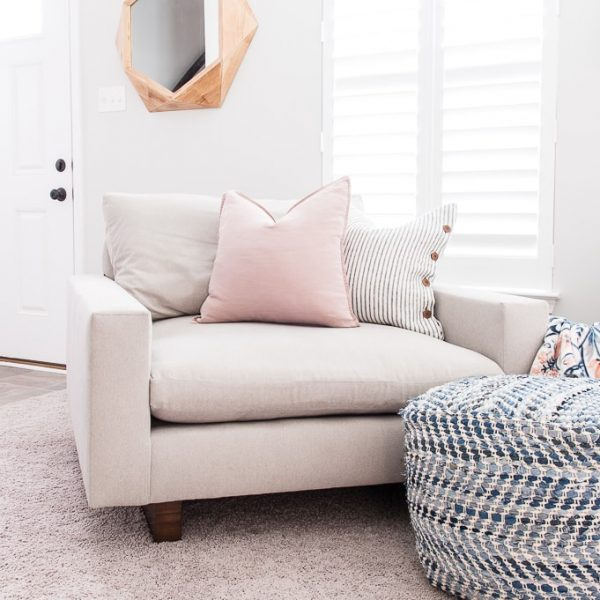 harmony oversized chair and a half from west elm in the color ash