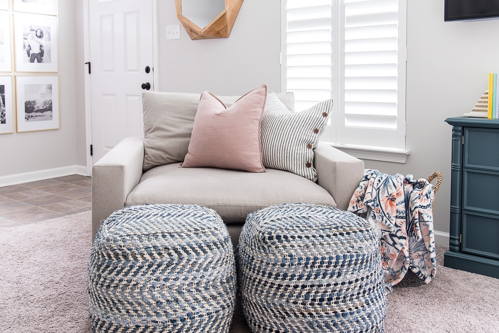 blue poufs and harmony oversized accent chair from west elm with accessories