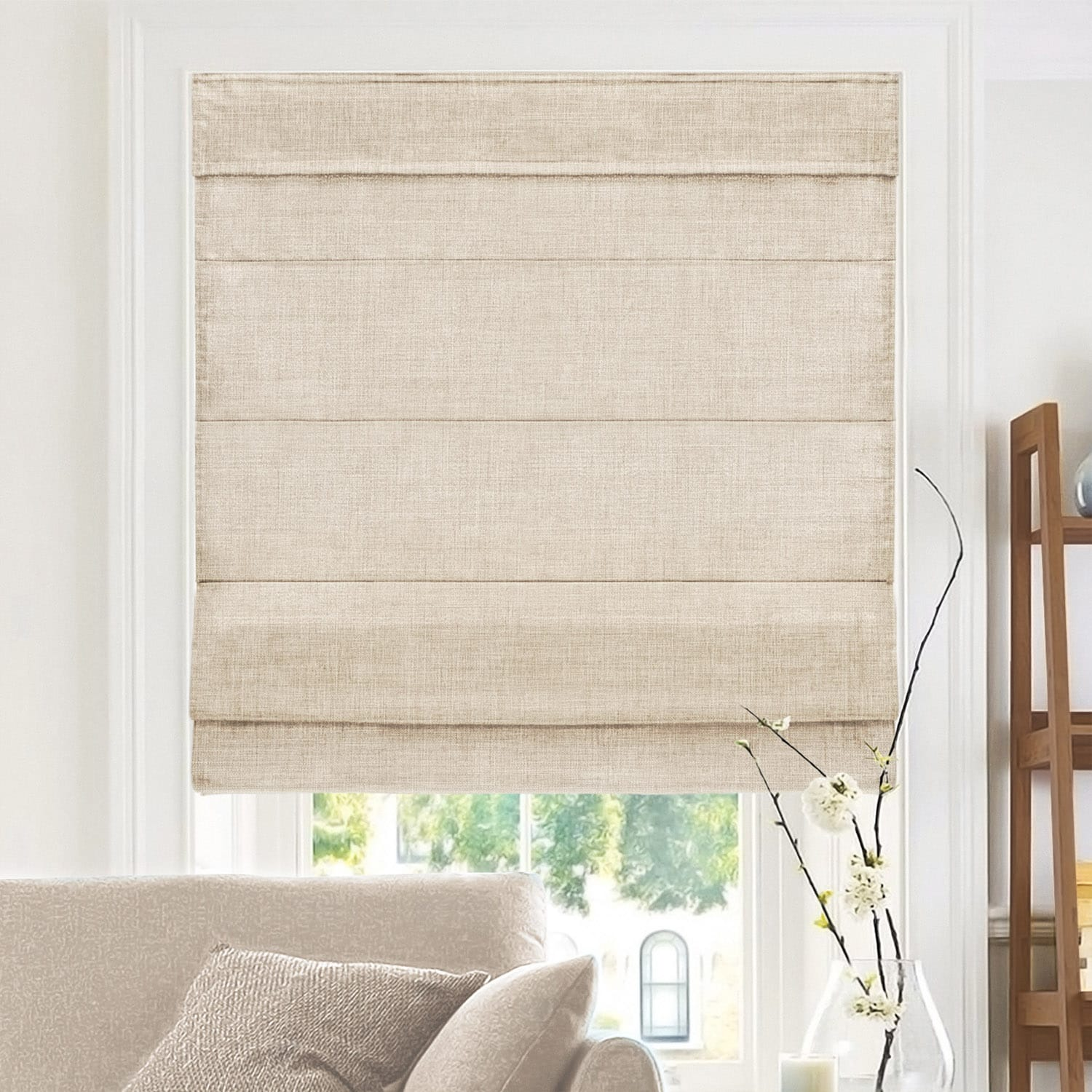 Belgian Flax Privacy Roman Shade Chicology
