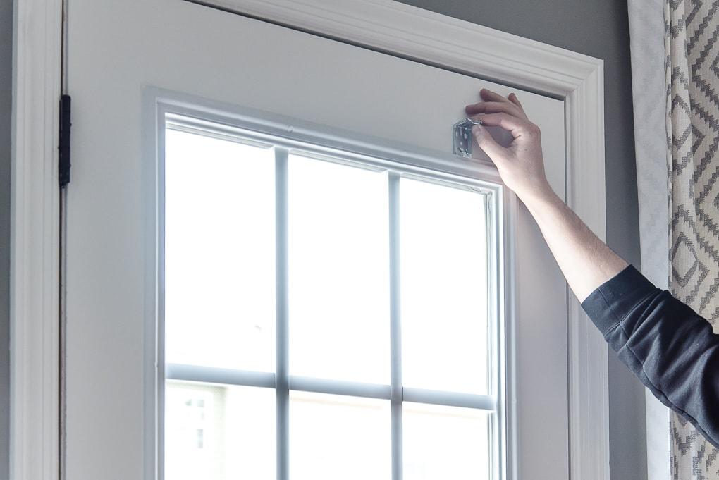 placing hardware on a door