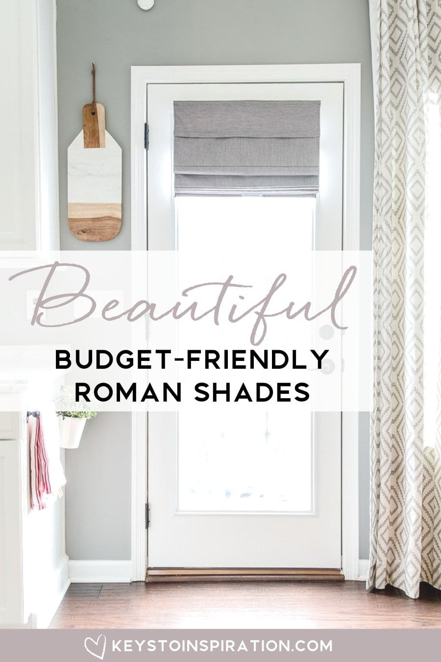 gray roman shade on french door in kitchen
