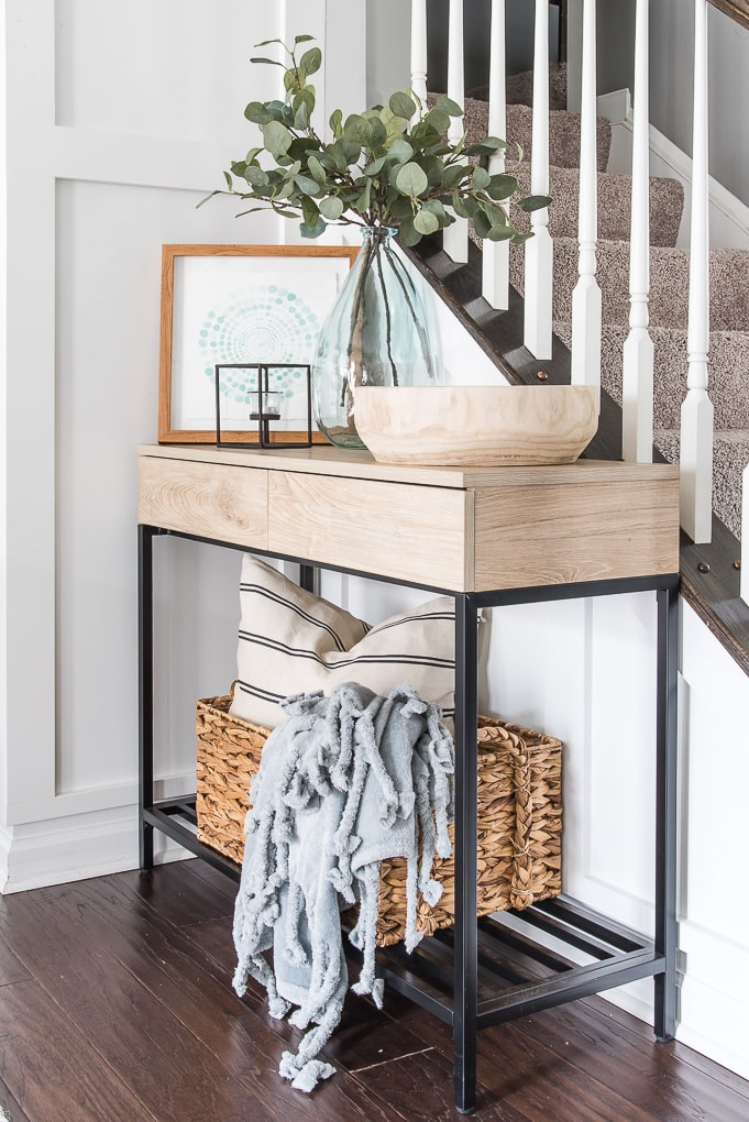 decorated console table for spring