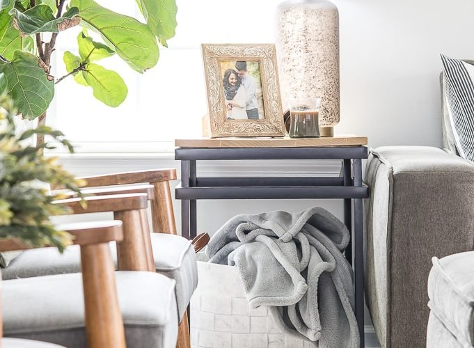 end table with felt basket blue blanket and modern classic home decorations