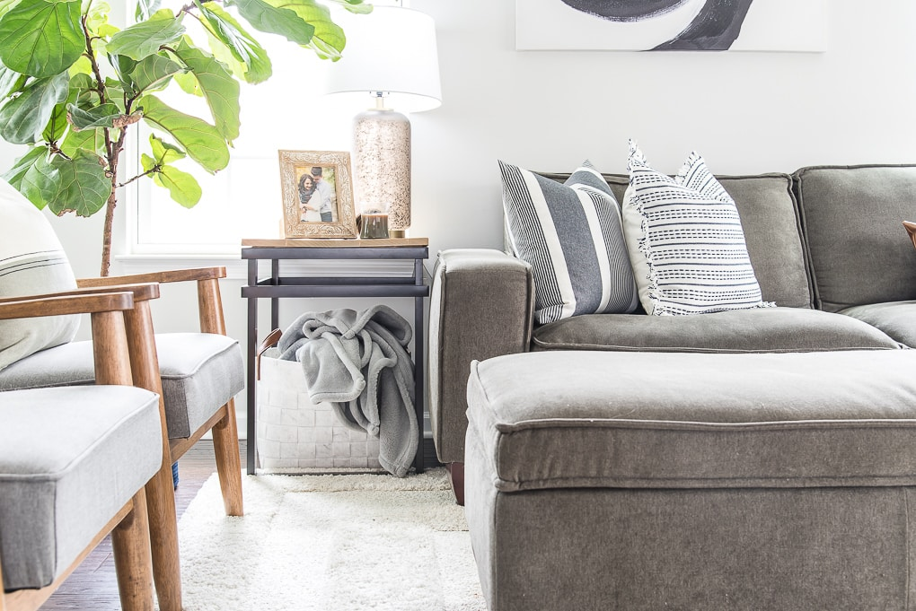 spring living room decorated with modern traditional classic accents gray furniture