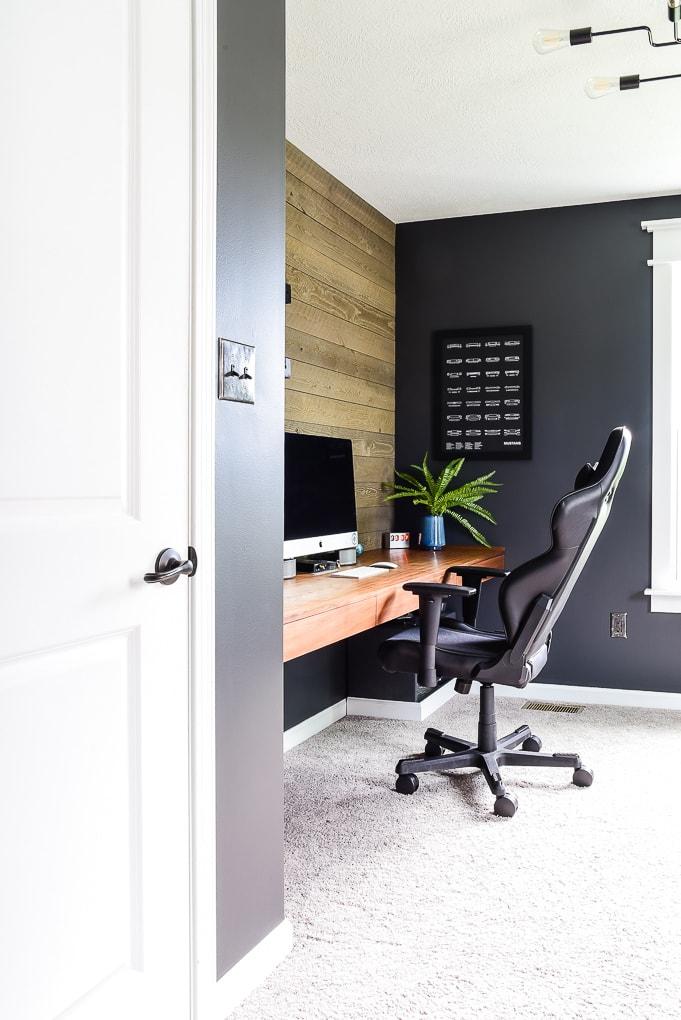 desk chair walnut floating desk in modern masculine home office