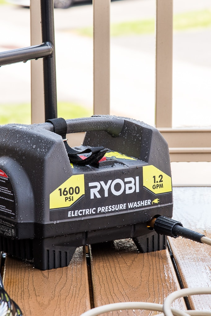 close up of Ryobi power washer on deck outside