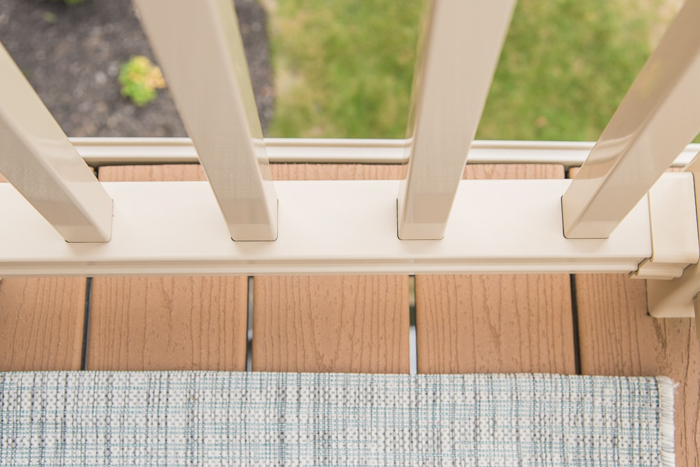 clean outdoor porch deck railing bottom