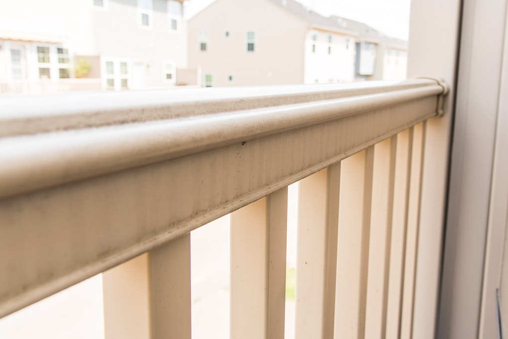 ourdoor porch deck railing dirty