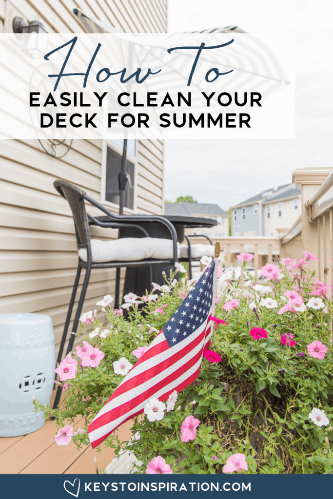 How to clean your deck for summer outdoor porch with furniture flowers and American flag
