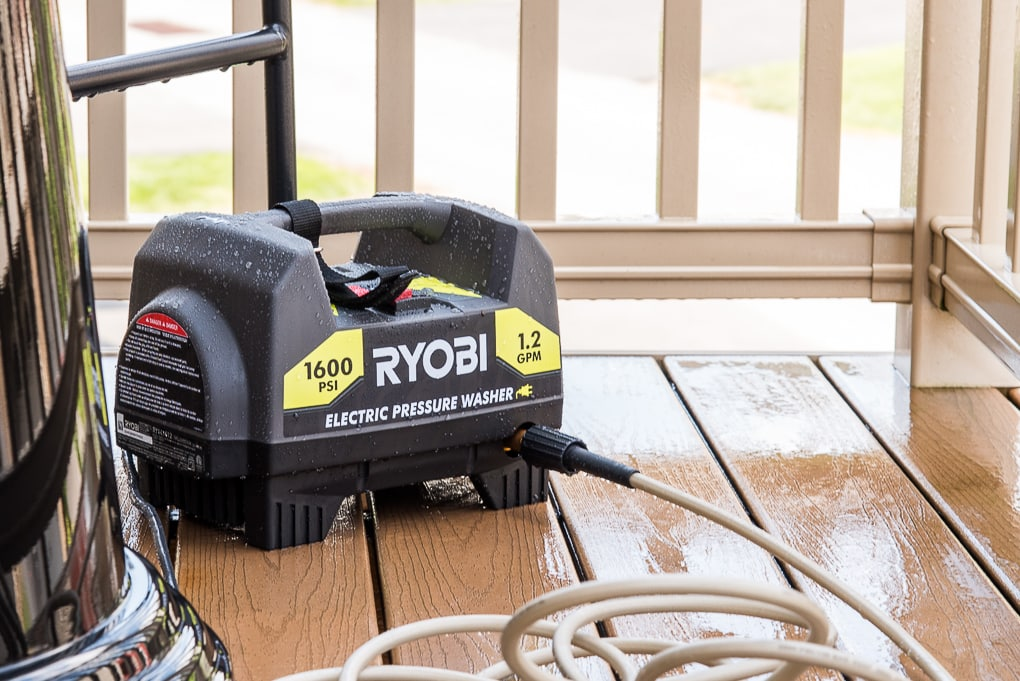 Ryobi power washer on deck in use