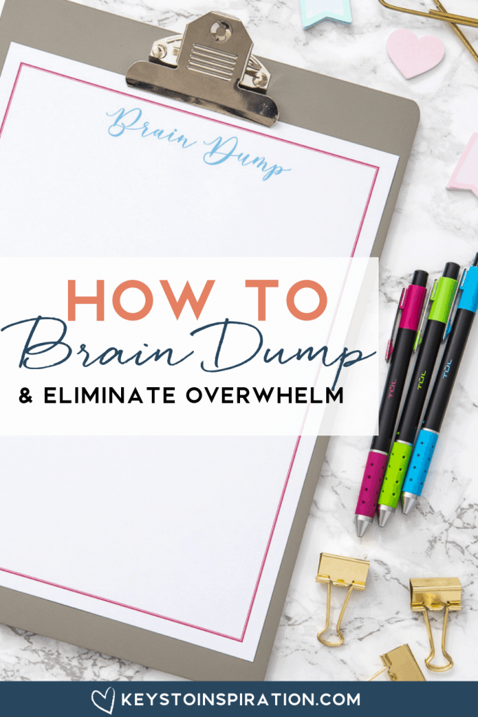 free printable brain dump worksheet with colorful pens
