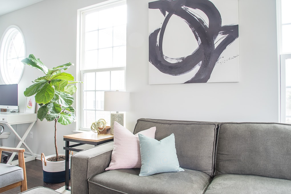 small fiddle leaf fig tree in living room left
