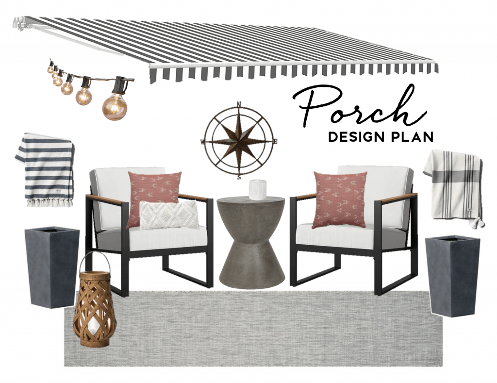 Summer outdoor small porch design plan for townhome or apartment modern home decor