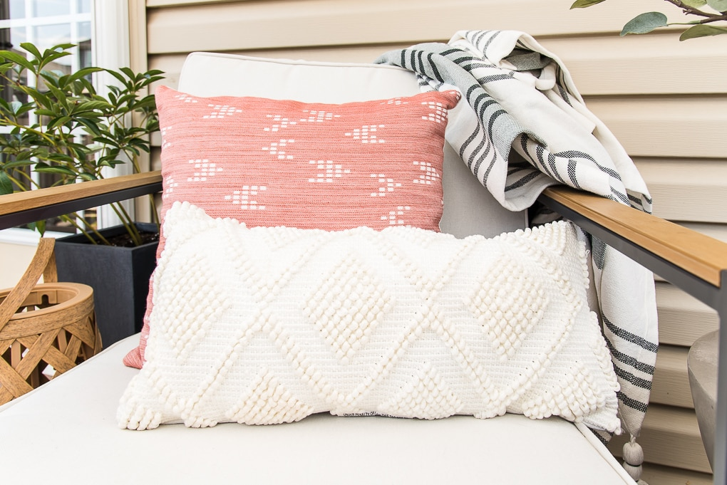 peach and white outdoor pillows