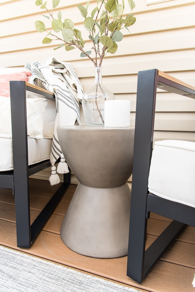outdoor modern accent table gray on porch