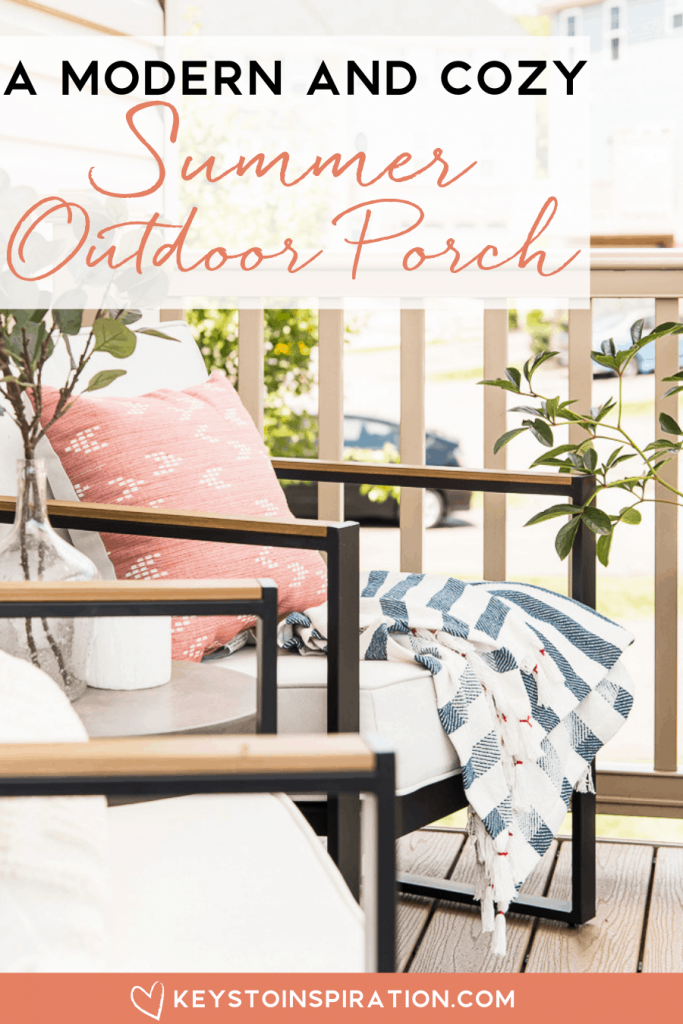 a modern and cozy summer outdoor porch throw blanket on modern outdoor chair from target