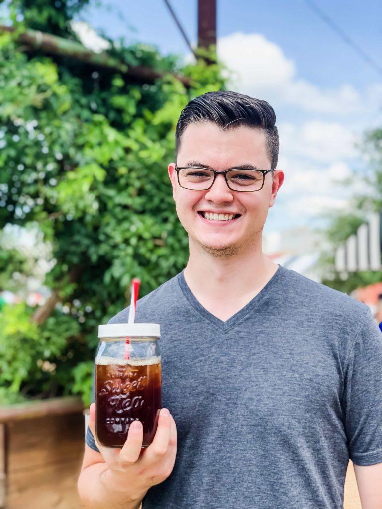 Ben at Magnolia Silos with iced tea