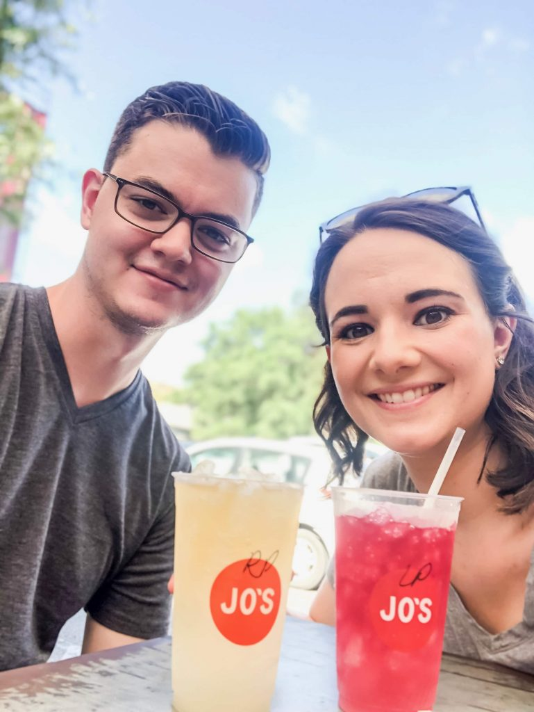Christene and Ben in Austin Texas at Jo's Coffee