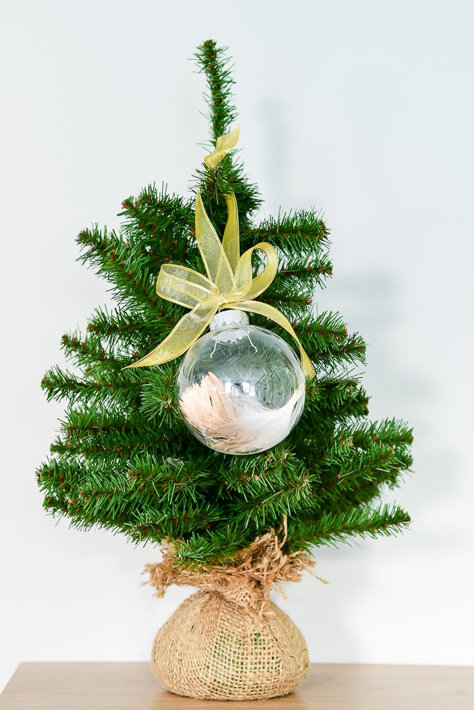 easy gold-dipped feather Christmas ornament on Christmas tree