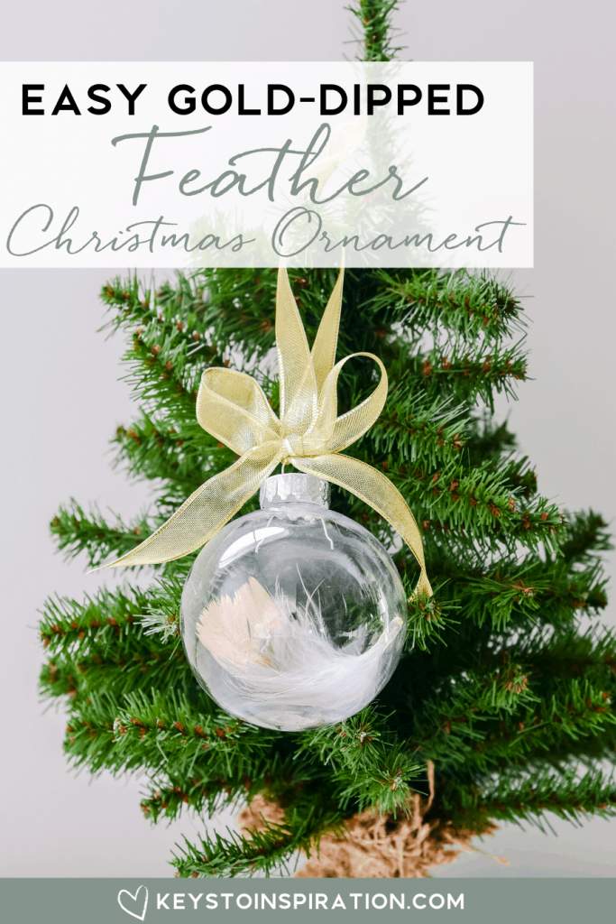 easy gold-dipped feather Christmas ornament on Christmas tree craft project